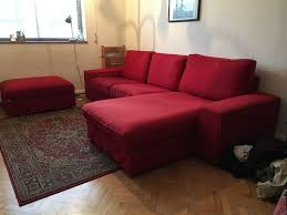Ikea Sofa Chaise Lounge by Ikea Kivik Sofa And Chaise Longue Plus Footstool Red In