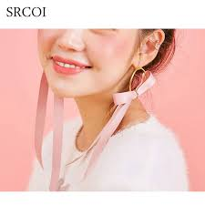 bow earrings srcoi sweet pink ribbon bow earrings gold color hoops ear with