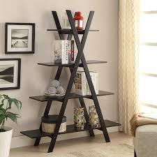 monarch 69 in ladder bookcase with 2 storage drawers cappuccino