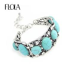 blue stone bracelet images Flola new vintage blue stone bracelets for women silver chain boho jpg