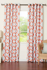 Orange Curtains For Living Room Best Home Fashion Inc Orange Reverse Moroccan Tile Printed Room