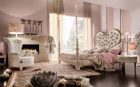 glamorous girls bedroom decorating idea with charming four poster