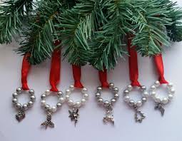 6 silver white ornaments christmas holidays ribbon advent