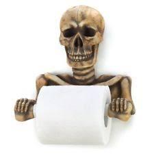spooky grinning skull toilet paper holder home bathroom halloween