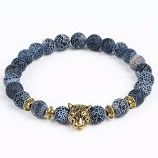 fashion stone bracelet images Blue gray natural stone bracelet with gold lion the gentleman shoppe jpg