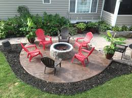 Backyard Stamped Concrete Ideas New Stamped Concrete Patio With Built In Fire Pit What A Great
