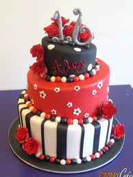 sweet 16 red and black cake cmny cakes