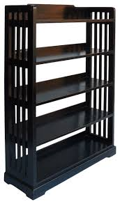 simple 5 shelf display bookcase black lacquer display and wall