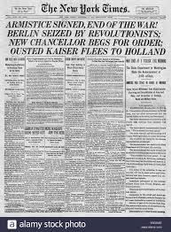 the new york times gt 1918 new york times front page reporting germany s surrender and