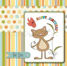 birthday card with funny cat stock vector colourbox