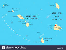 Map Of Eastern Caribbean by Saint Kitts And Nevis Antigua And Barbuda Montserrat Saba And