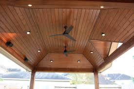 Outdoor Covered Patio by Pre Stained Tongue And Groove Pine Ceiling Recessed Lighting