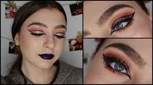dramatic fall glam cat eye cut crease makeup tutorial youtube
