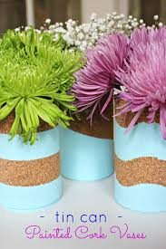Tin Vases Tin Can Cork Vases My Crafty Spot When Life Gets Creative