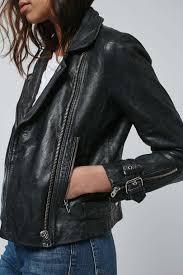 leather biker jacket washed leather biker jacket topshop