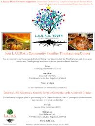 join l a u r a s community families thanksgiving dinner