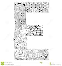 letter e for coloring vector decorative zentangle object stock