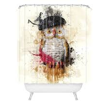 Graphic Shower Curtains by Msimioni Spain Owl Shower Curtain Deny Designs