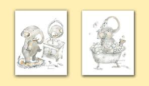 Bathroom Art Decor by Elephant Bathroom Print Set Elephant Prints Kids Bathroom