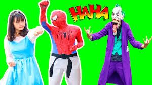 frozen elsa martial arts spiderman weak venom u0026 joker kidnap elsa