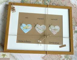 Wedding Keepsake Gifts Wedding Map Hearts Personalised Wedding Keepsake Framed