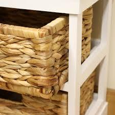 Seagrass Bathroom Storage White 2 Drawer Basket Bedside Cabinet Home Storage Unit Lounge