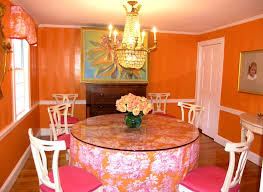 beautiful dining room with pink color accent touches