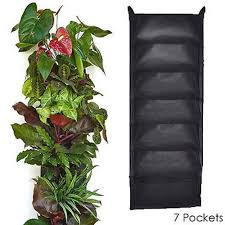 vertical hanging wall garden 7 pocket planting bags woven fabric
