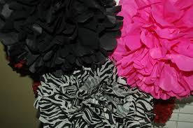 zebra tissue paper wedding party bachelorette party decor hot pink zebra
