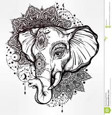 decorative elephant with tribal mandala ornament stock vector