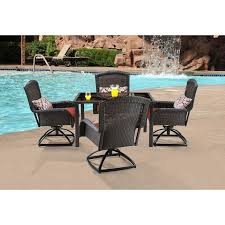 Swivel Patio Dining Chairs by Strathmere 5 Piece Square Dining Set With Four Swivel Rockers