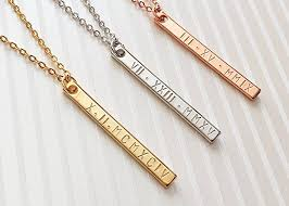 valentines necklace a numerals bar necklace personalized bridesmaid
