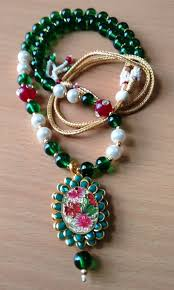 green color necklace set images Green pachi necklace set with beautiful multi color pearls online jpg