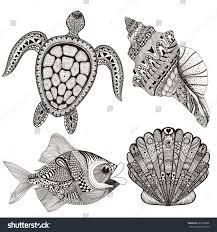 zentangle stylized black sea shells fish stock vector 285336866