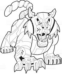 mechanical robot bobcat or wildcat vector mascot illustration