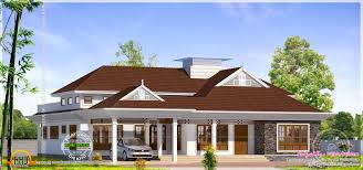 grand single storied bungalow exterior kerala home design and
