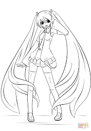 hatsune miku coloring page free printable coloring pages