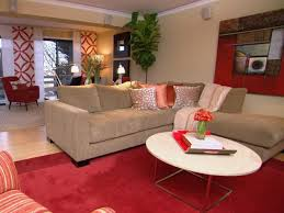 red and black coffee table light tan living room traditional carpet grey wall color black