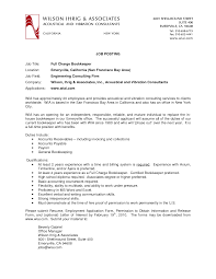 Resumes For Jobs by Bookkeeper Description For Resume Resume For Your Job Application
