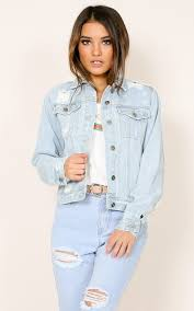 Checking Out Denim Jacket In Light Wash Showpo Nz