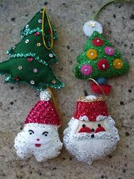 vintage christmas tree ornaments sequins felt bucilla handmade