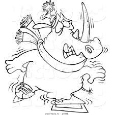 vector of a cartoon shaky ice skating rhino coloring page