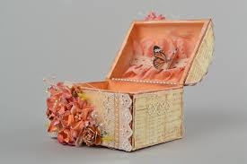 Home Decor Boxes Madeheart U003e Handmade Scrapbooking Jewelry Box With Flowers