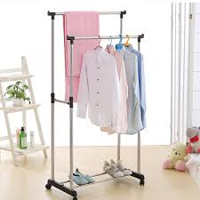 online get cheap double clothes coat garment hanging rail rack