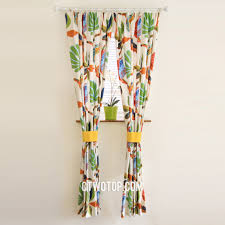 organic shabby chic cotton white orange and green tropical curtains