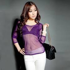 see thru blouse pics style transparent sheer gauze sleeve clubwear t