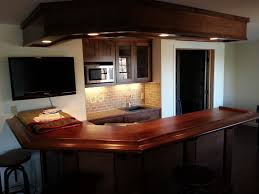 interior corner bar designs for home basements with wooden bar