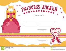 printable princess certificate has a pretty pink stock vector