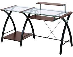 Glass L Shaped Computer Desk by Beautiful Z Line Belaire Glass L Shaped Computer Desk On Details