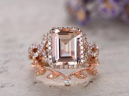 gold bridal set 8x10 pink morganite engagement ring gold wedding set solid